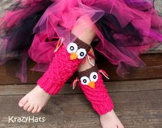 Crochet Owl legwarmers or hand warmers