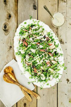 A Salad with all of the Peas, Potatoes, Acidulated shallots + Creamy Dill Dressing