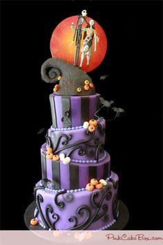 """The Nightmare Before Christmas"" Wedding Cake by TinyCarmen | #halloween #xmas #holidays #halloweenwedding"