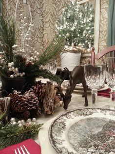 woodland themed holiday table