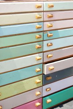 Painted drawers to organize art papers and supplies