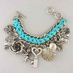 Metal leaf heart key dangle braided cord on fashion chain charm bracelet