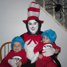 Cat in the Hat and Thing 1 and Thing 2 Halloween Costume Idea. I sewed blue fur to blue hats. Store bought shirts and Cat Hat, but shirts could be made with an iron on. For Cat, I fabric glued white fur to a black hooded sweat shirt and sewed a tail made from old tights to black sweatpants, and cut out and stuffed red felt for the tie and sewed it on.