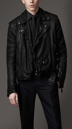 Burberry London Washed Leather Biker Jacket