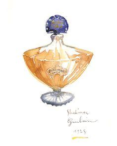 Shalimar Guerlain perfume bottle watercolor
