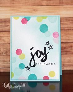 Bokeh Joy Card by @heathercampbell using the Bokeh Dots and Brushstroke Christmas stamps and the Brushstroke Joy die. #EssentialsbyEllen #ellenhutsonllc #BokehDots #BrushstrokeChristmas #BrushstrokeJoy