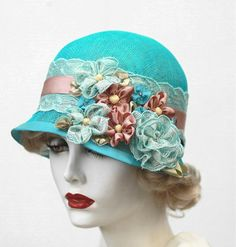1920's,Summer,Cloche,Hat,Flowers,and,Lace,in,Turquoise,1920's summer flowers and lace hats,lace hats,flowered hat, lace summer hat,downton abbey style hat,hats for summer,sun hat,sunhat