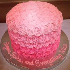 "Pink Ombre cake photo submitted by Alicia B. from Cakes by Leece ""this star tube was used to make the buttercream swirls on this cake"" #baking buttercream swirl, cake baking, star tube, cake photo, ombr cake"