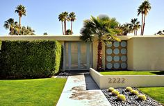 mid century modern, palm springs, front yards, mid centuri, house numbers