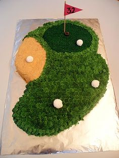 ben birthday, golf courses, golf cakes, favorit recip, cake decor, cours cake, dad birthday, yummi food, golf course cakes