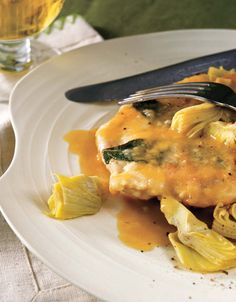 Chicken Saltimbocca with Artichoke Sauce