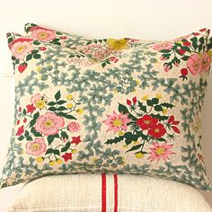 Vintage Floral Barkcloth Pillow | Jill Bent