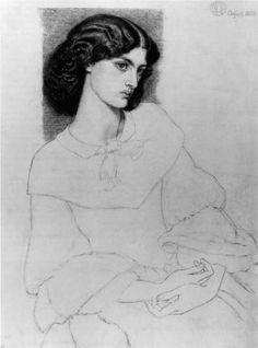 Jane Burden, aged 18 - Dante Gabriel Rossetti. Artist: Dante Gabriel Rossetti. Completion Date: 1858. Style: Romanticism. Genre: sketch and study