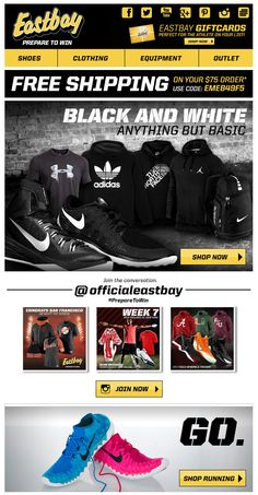 Eastbay included the latest Instagram photos with #preparetowin, and the feed was displayed at the bottom of the email. #emailmarketing #retail #realtime #socialmedia