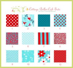 More aqua and red patterns for bedding
