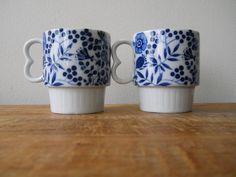 vintage blue floral mug set