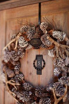 deer horns, christmas wreaths, lodge style, front door wreaths, front doors, barn winter, pottery barn, winter wreaths, the holiday