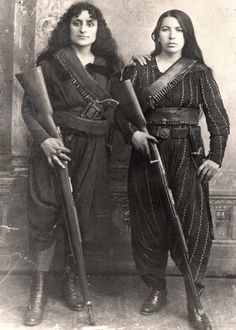 Armenian women, 1895. (To the right, Eghisapet Sultanian, great grandmother of musician Derek Sherinian during the 1895 Hamidian massacres, when the Armenians of Zeitun (modern Süleymanlı), fearing the prospect of massacre, took up arms to defend themselves from Ottoman troops.)