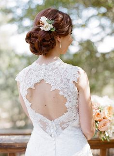 lace wedding back + elegant updo, photo by Josh Gruetzmacher http://ruffledblog.com/santa-rosa-winery-wedding #bride #lace #hair