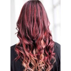 Red and blonde highlights with a dark maroon base!