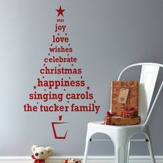 Personalized Christmas Tree Wall Decal