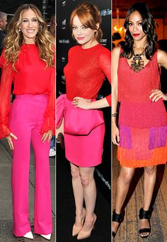 Red, pink, & orange color block pant outfit, skirt, & dress idea options. Such a fabulous looks! Great Valentine's Day outfit ideas or any day!