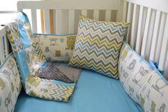 Owls and Chevron Boys 5 Piece Crib Bedding Set by idbaby on Etsy, $345.00