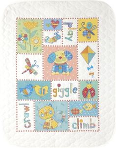 $36.99 Baby Dimensions Needlecrafts Stamped Cross Stitch, Patchwork Baby Quilt - A patchwork of sweet critters make this stamped cross stitch baby quilt a great place to snuggle. Contains cotton thread, design printed in wash-away ink on prefinished poly/cotton quilt, and needle. Finished size: 34 by 43 inches http://www.amazon.com/dp/B001RM40YM/?tag=pin2baby-20