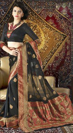 USD 85.09 Black Silk Printed Party Wear Saree 28922
