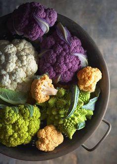 cauliflower green, orange, purple