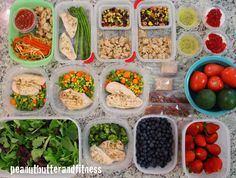 Meal Prep ideas for one week of prepping.  Healthy meals and snacks all ready to go!