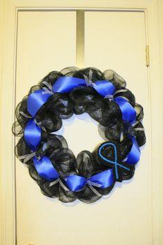 Thin Blue Line Awareness Wreath by KristenMichellesSwag, $75.00