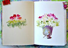 """blob & smoosh"" method :-)  By art teacher & author Catherine Carey   #art #journal #watercolor"