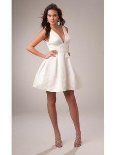 Princess V-neck Ruched Short White Satin Wedding Reception Dress Under 200
