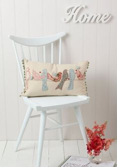 painted chairs, vintage birds, cushion, home decorations, appliqu, old chairs, homes, vintage charm, pillows