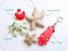 . sea creatures, ornament, manufatti fb, sea friend, felt sea, feltro, anchor