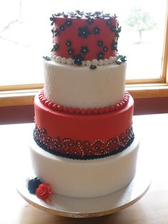 white cakes, red black white cake, eat cake