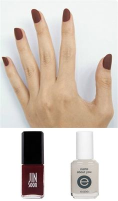 A matte finish adds a twist to the classic red nail