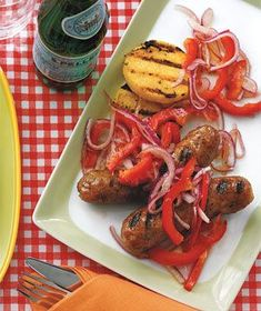 Sausages and Polenta With Marinated Peppers