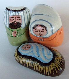 Small Painted Rock Nativity Set using Light Acrylic Hues (nativity sets)