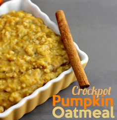 Throw in the ingredients before bed and wake up to a house smelling like pumpkin!!  Delicious and hot right before work, you've GOT to try this crockpot pumpkin oatmeal recipe!!!!!!
