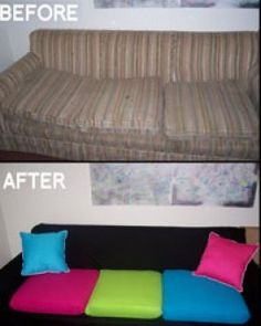 DIY Sofa Makeover; I love my current sofa but...it's ugly. This would be perfect!