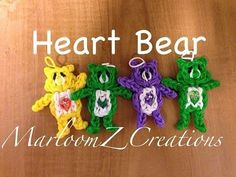 Rainbow Loom HEART BEAR / CARE BEARS. Designed and loomed by MarloomZ Creations. Click photo for YouTube tutorial.