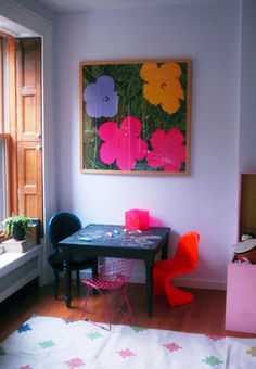 Lilac, orange, pink and black