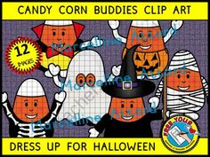 HALLOWEEN CLIP ART - CANDY CORN BUDDIES DRESS UP - COLOR + BLACK LINE IMAGES from FREEYOURHEART on TeachersNotebook.com -  (12 pages)  - A CUTE SET OF CANDY CORN BUDDIES DRESSED UP FOR HALLOWEEN! These images will enhance any project and motivate children in any Halloween related activity. Crispy clear images (300dpi), png format!!!