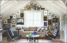 Patrick Printy's design studio - in love with the nautical art, and the ease / patina of this space.