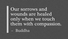 .Our sorrows and wounds are healed only when we touch them with compassion. ~ Buddha