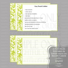 Editable Lime Damask Recipe Cards