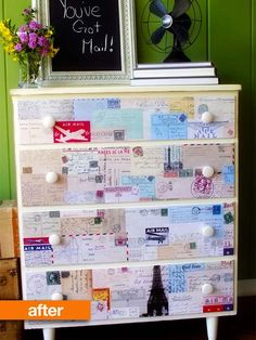 transform a garage sale old dresser with white paint and vintage postcards or whatever you like! decoupaged with printouts of vintage postcards. This would be a great addition to the bedroom of anyone who dreams of travel and adventure, and is a nice reminder that a piece of furniture can serve as a piece of art in a room.