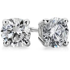 Blue Nile Diamond Stud Earrings in 14k White Gold (1 ct. tw.) ($2,170) ❤ liked on Polyvore